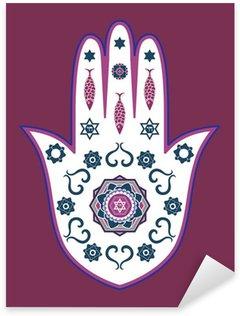 Pixerstick Dekor Judiska hamsa handen amulett - eller Miriam handen, vektor illustration