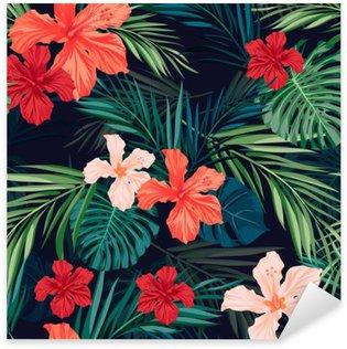Pixerstick Dekor Ljusa färgglada tropisk sömlös bakgrund med blad och