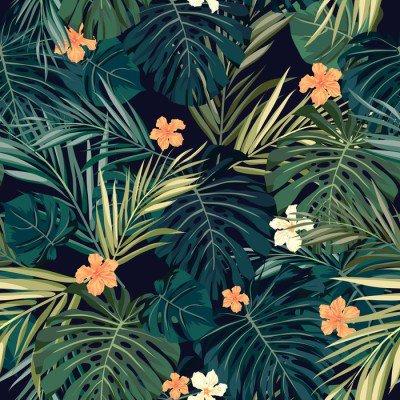 Pixerstick till Allt Ljusa färgglada tropisk sömlös bakgrund med blad och