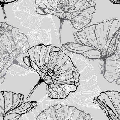 Pixerstick till Allt Monokrom seamless med vallmo. Handritade blommig bakgrund