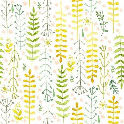 Pixerstick till Allt Mönster av blommor målade i akvarell på vitt papper. Skiss av blommor och örter. Krans, krans av blommor.