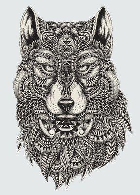 Pixerstick till Allt Mycket detaljerade abstrakt wolf illustration