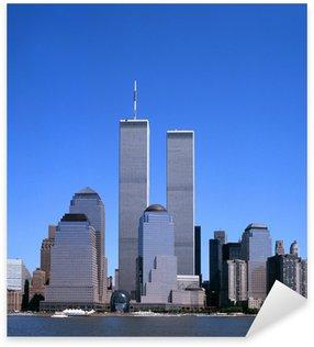 Pixerstick till Allt NYC-horisont med Twin Towers