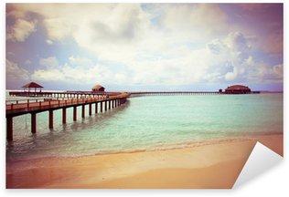 Pixerstick till Allt Ö i havet, Maldiverna, med en retro effekt