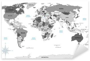 Pixerstick Dekor Politisk karta över världen