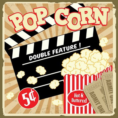 Pixerstick till Allt Popcorn med kläpp ombord och biobiljetter vintage affisch