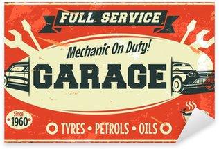 Pixerstick till Allt Retro bilservice tecken. Vector illustration.