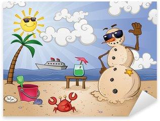 Pixerstick till Allt Sand Snowman Tecknad Tecken på en tropisk semester