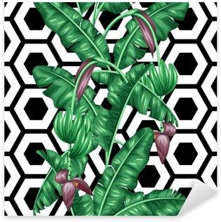 Pixerstick Dekor Seamless bananblad. Dekorativ bild av tropiska bladverk, blommor och frukter. Bakgrund göras utan urklippsmask. Lätt att använda för bakgrund, textil, omslagspapper