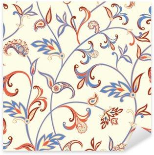 Pixerstick Dekor Seamless blom- modell. Blomma virvlar runt bakgrund. Arabiska ornament med fantastiska blommor och blad.