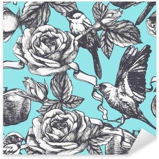 Pixerstick Dekor Seamless hand plockade rosor, äpplen och fåglar. Vektor