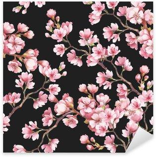 Pixerstick Dekor Seamless körsbär blommar. Vattenfärgillustration.
