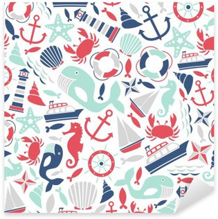 Pixerstick Dekor Seamless med ikoner havet