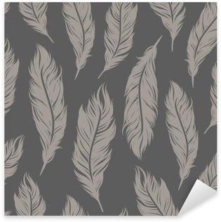 Pixerstick Dekor Seamless mönster med grå fjäder symboler