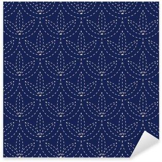 Pixerstick Dekor Seamless porslin indigo blå och vit tappning japansk Sashiko kimono mönster vektor