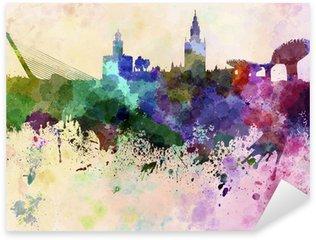 Pixerstick till Allt Sevilla skyline i vattenfärg bakgrund