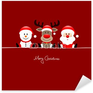 Pixerstick till Allt Sitter Snowman, Rudolph & Santa röd bakgrund