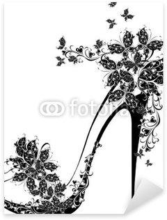 Pixerstick till Allt Skor på en hög klack dekorerad med blommor och fjärilar