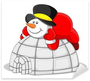 Pixerstick till Allt Snowman med Igloo House - Christmas Vector Illustration