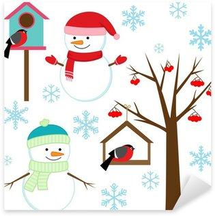 Pixerstick till Allt Snowmans, fåglar, träd, snöflingor och birdhouses - winter set.