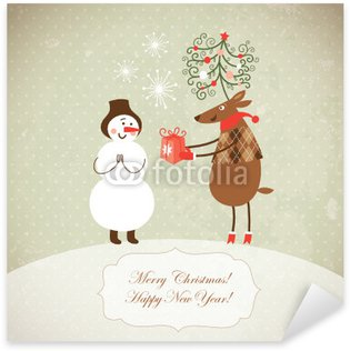Pixerstick till Allt Söt Christmas rådjur ger en present till Snowman