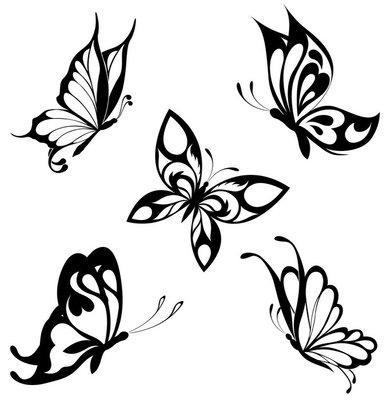 Pixerstick till Allt Ställ svart vit fjärilar av en tatuering