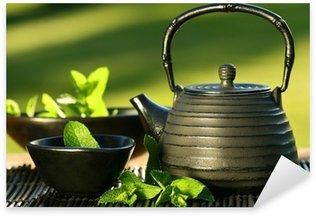 Pixerstick till Allt Svart järn asiatisk tekanna med kvistar mynta för te