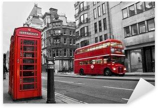 Pixerstick Dekor Telefonkiosk och röd buss i London (Storbritannien)