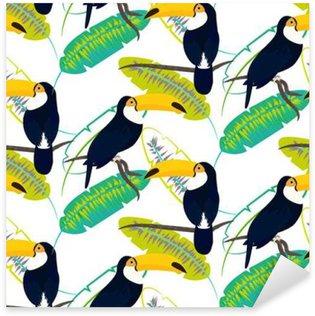 Pixerstick till Allt Tocotukan fågel på bananblad sömlösa vektor mönster på vit bakgrund. Tropisk djungel blad och exotisk fågel sitter på gren.