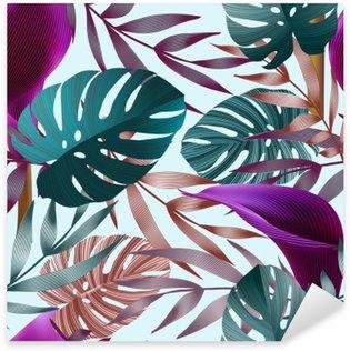 Pixerstick Dekor Tropiska blommor, djungel blad, paradisfågel blomma.