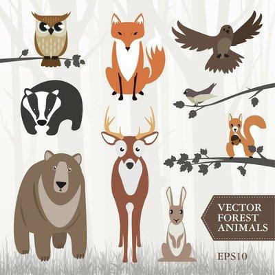 Pixerstick till Allt Uppsättning av skogens djur. Vektor bild