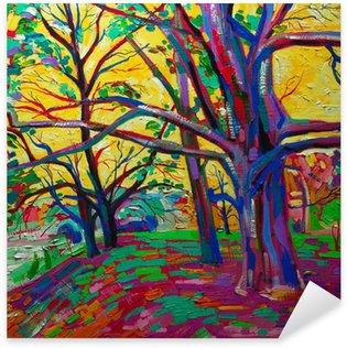 Pixerstick till Allt Ursprungliga oljemålning, skog på våren. moderna Impressionism