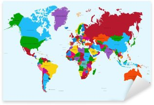 Pixerstick Dekor Världskartan, färgstarka länder atlas EPS10 vektor fil.