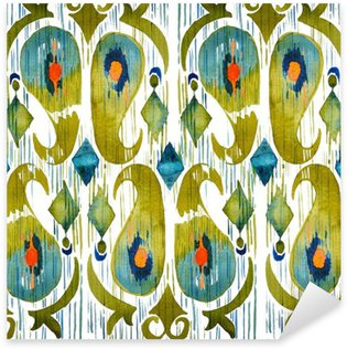 Pixerstick Dekor Vattenfärg grön ikat vibrerande seamless. Trendig stam i vattenfärg stil. Påfågel fjäder.