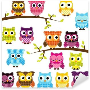 Pixerstick till Allt Vector Uppsättning av Patchwork Eller Quilt stil Owls och grenar