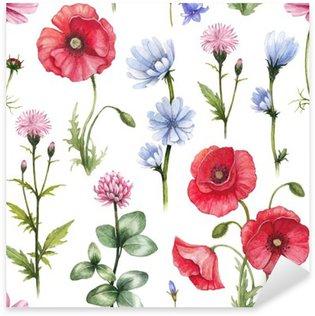Pixerstick Dekor Vilda blommor illustrationer. Vattenfärg seamless