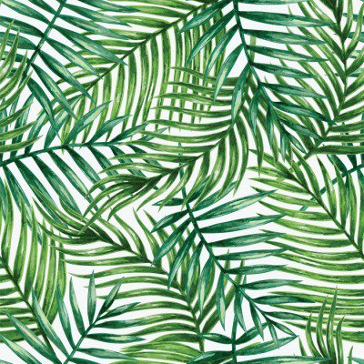 Pixerstick till Allt Watercolor tropical palm leaves seamless pattern. Vector illustration.