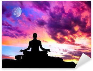 Pixerstick Dekor Yoga meditation silhuett pose