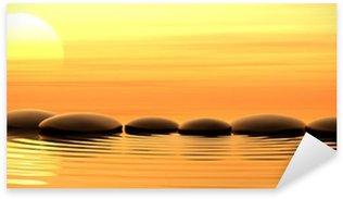 Pixerstick Dekor Zen stenar i vattnet på solnedgången