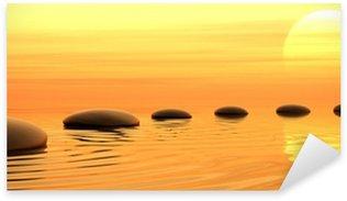 Pixerstick Dekor Zen väg stenar solnedgång i widescreen