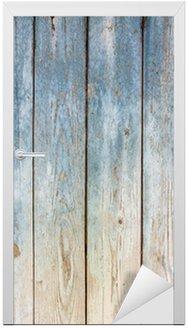 Deursticker Blauwe vintage houten achtergrond