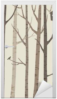 Deursticker Decoratieve silhouetten van bomen met een vogel en vogelhuisje