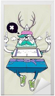 Deursticker Driehoek hipster bizar karakter