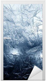 Deursticker Frosty fijn patroon van de natuur