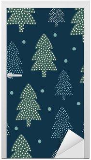 Deursticker Kerst patroon - Xmas bomen en sneeuw. Gelukkig Nieuwjaar natuur naadloze achtergrond. Bos ontwerp voor de winter vakantie. Vector winter vakantie af te drukken voor textiel, behang, stof, behang.
