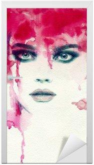 Deursticker Mooie vrouw. aquarel illustratie