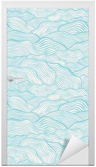 Deursticker Naadloos patroon met golvende schaal textuur