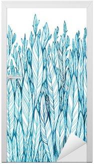 Deursticker Patroon van blauwe bladeren, gras, veren, waterverf inkttekening