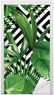 Deursticker Tropische palm verlaat patroon, geometrische achtergrond