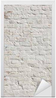 Deursticker Witte grunge bakstenen muur achtergrond